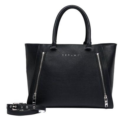 REPLAY Shopper Bag With Zipper Black