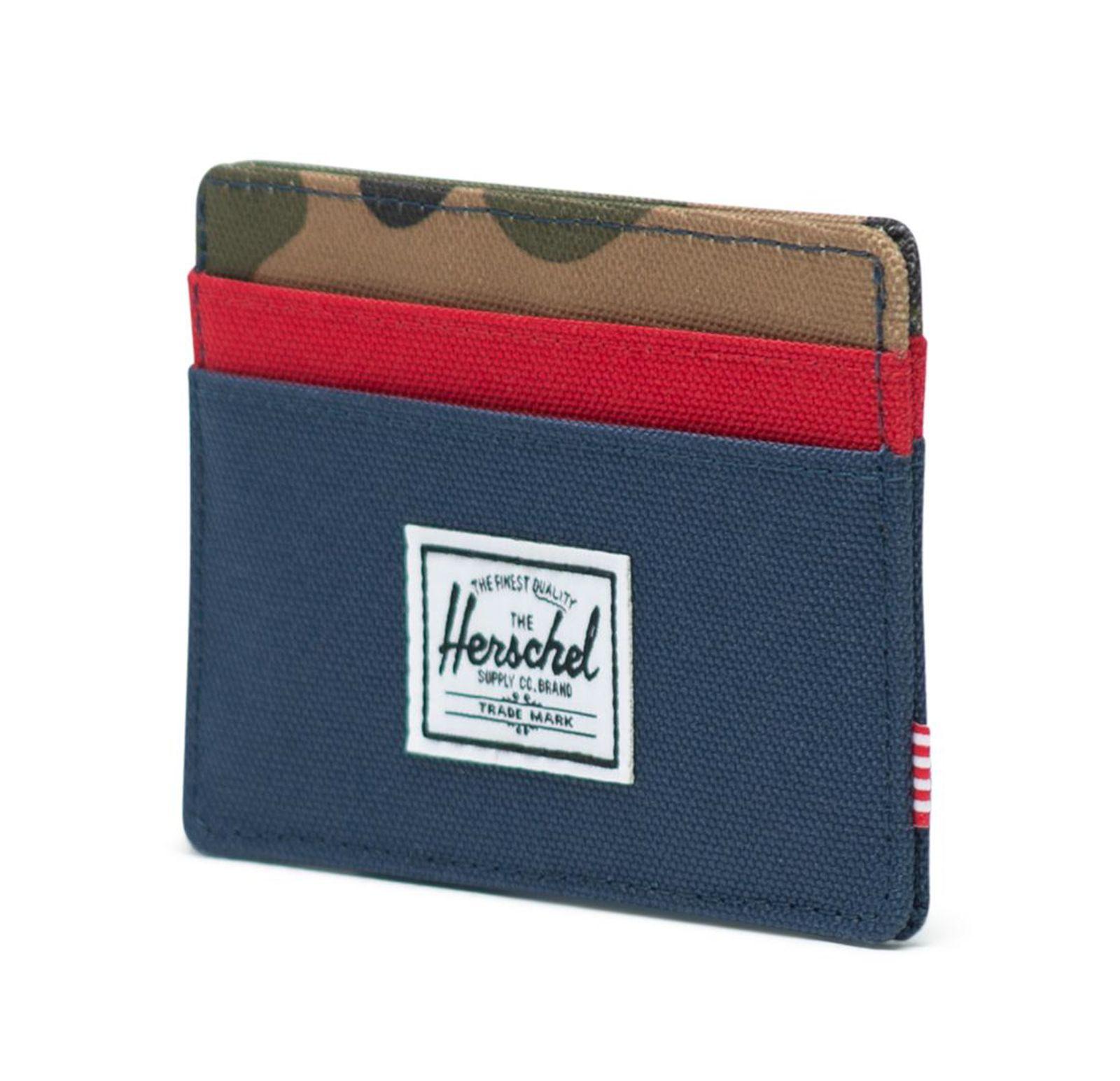 Herschel Charlie Rfid Wallet Navy Red Woodland Camo