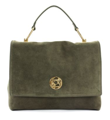 COCCINELLE Liya Suede Top Handle Bag Evergreen