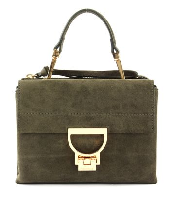 COCCINELLE Arlettis Suede Top Handle Bag Evergreen