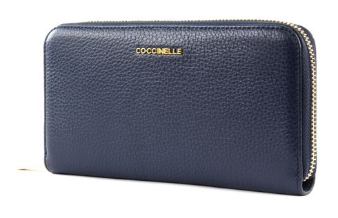 COCCINELLE Metallic Soft Zip Around Wallet Ink