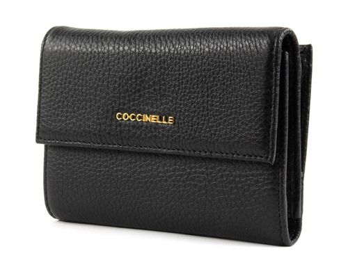 COCCINELLE Metallic Soft Flap Wallet Noir
