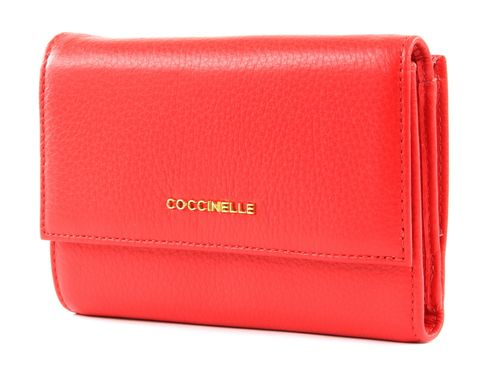 COCCINELLE Metallic Soft Flap Wallet Polish Red