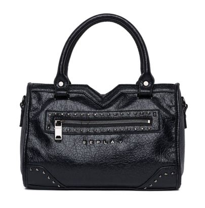 REPLAY Crinkle Studs Hand Bag Black