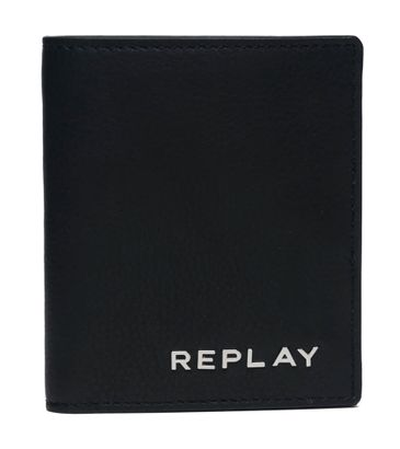 REPLAY Vertical Leather Wallet Black