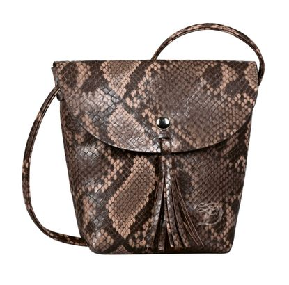 TOM TAILOR Ida Snake Flapbag Brown