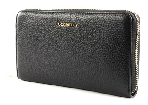 COCCINELLE Metallic Soft Zip Around Wallet Noir