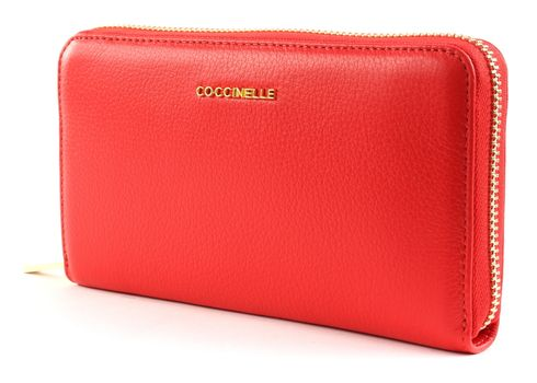 COCCINELLE Metallic Soft Zip Around Wallet Polish Red