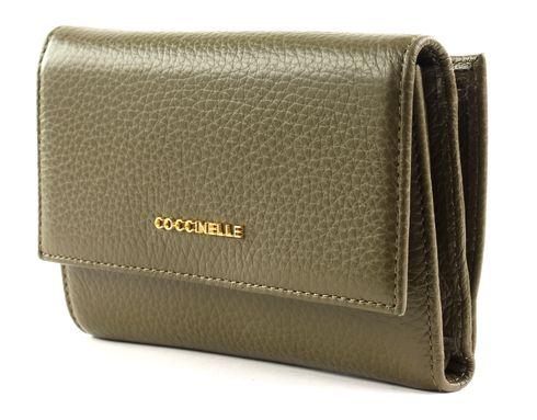 COCCINELLE Metallic Soft Flap Wallet Evergreen
