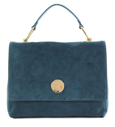 COCCINELLE Liya Suede Top Handle Bag Teal / Teal