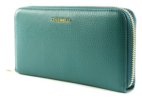 COCCINELLE Metallic Soft Zip Around Wallet Teal