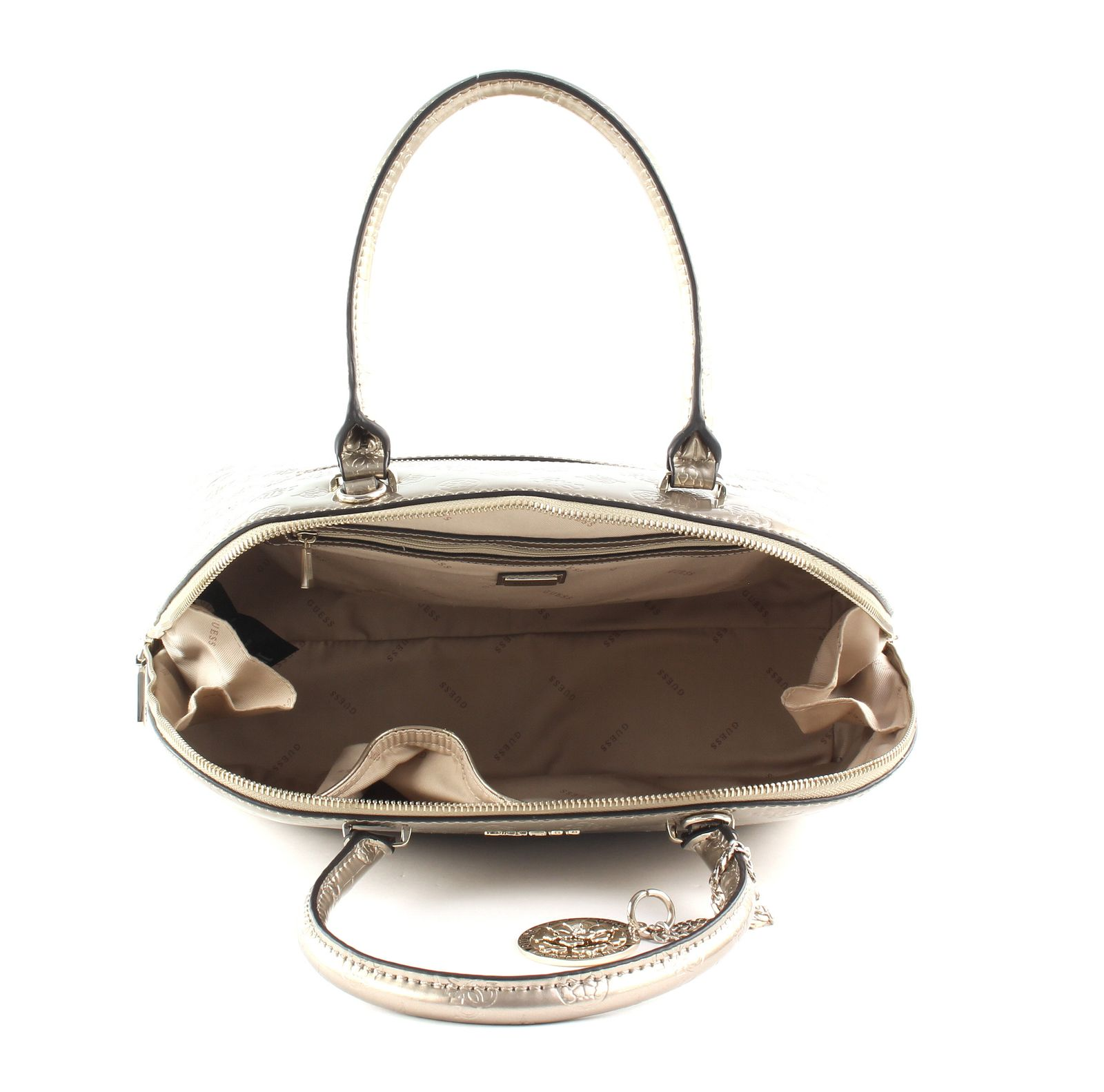 Details about GUESS Peony Shine Large Dome Satchel Champagne