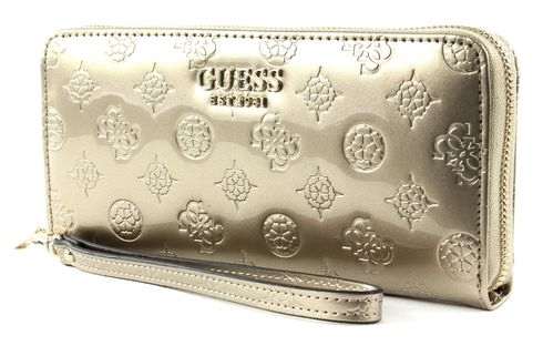 GUESS Peony Shine SLG Large Zip Around Champagne