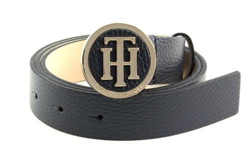 TOMMY HILFIGER TH Round Buckle Belt W85 Sky Captain