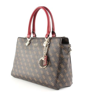GUESS Aline Society Satchel Brown Multi