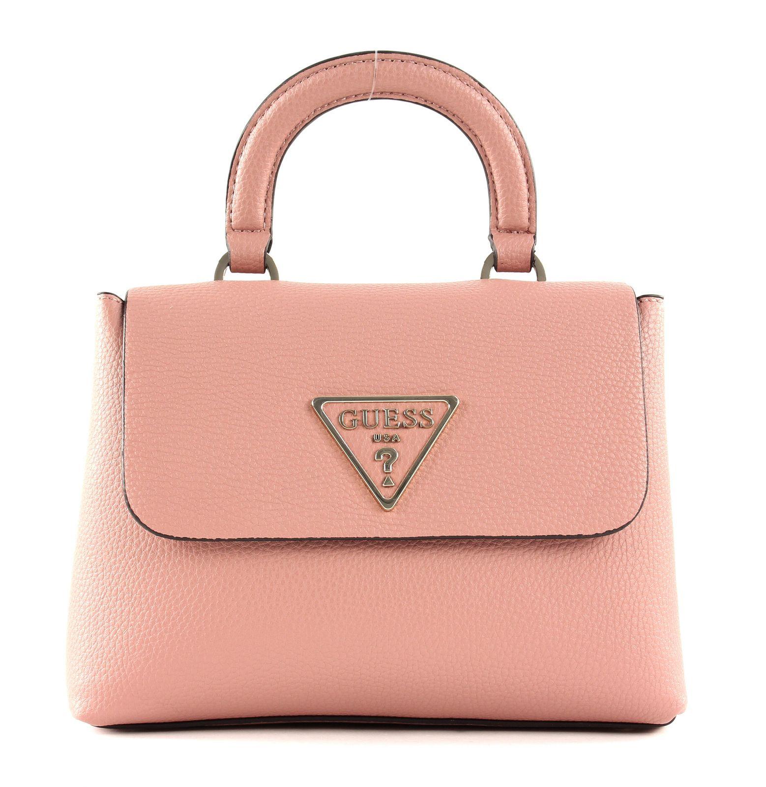 Details zu GUESS Aretha Top Handle Flap Handtasche Schultertasche Tasche Rosewood Rosa