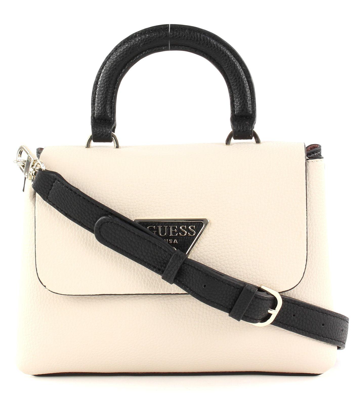 Details about GUESS Aretha Top Handle Flap Handbag Bag Stone Multi Beige Black show original title