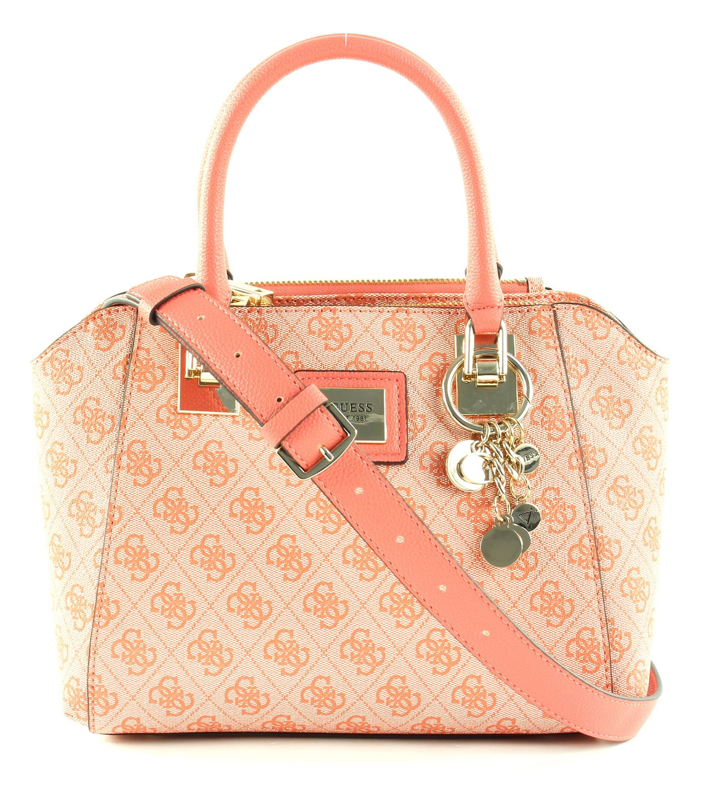 GUESS Candace Society Satchel Coral