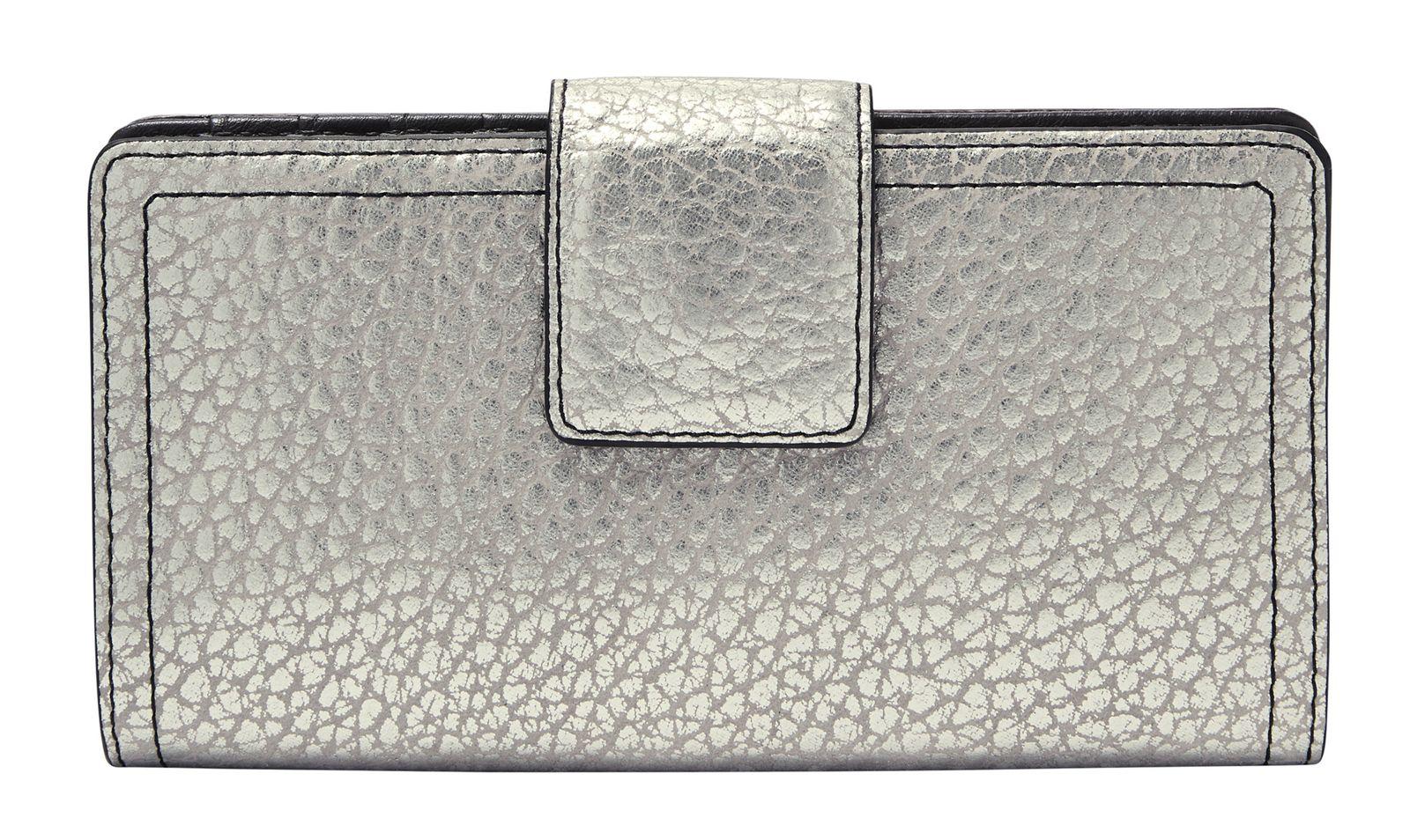 FOSSIL Logan RFID Tab Wallet Geldbörse Silver Silber Neu
