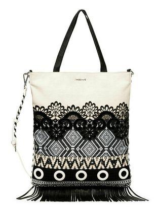 Desigual Black White Coro Shopping Bag Blanco