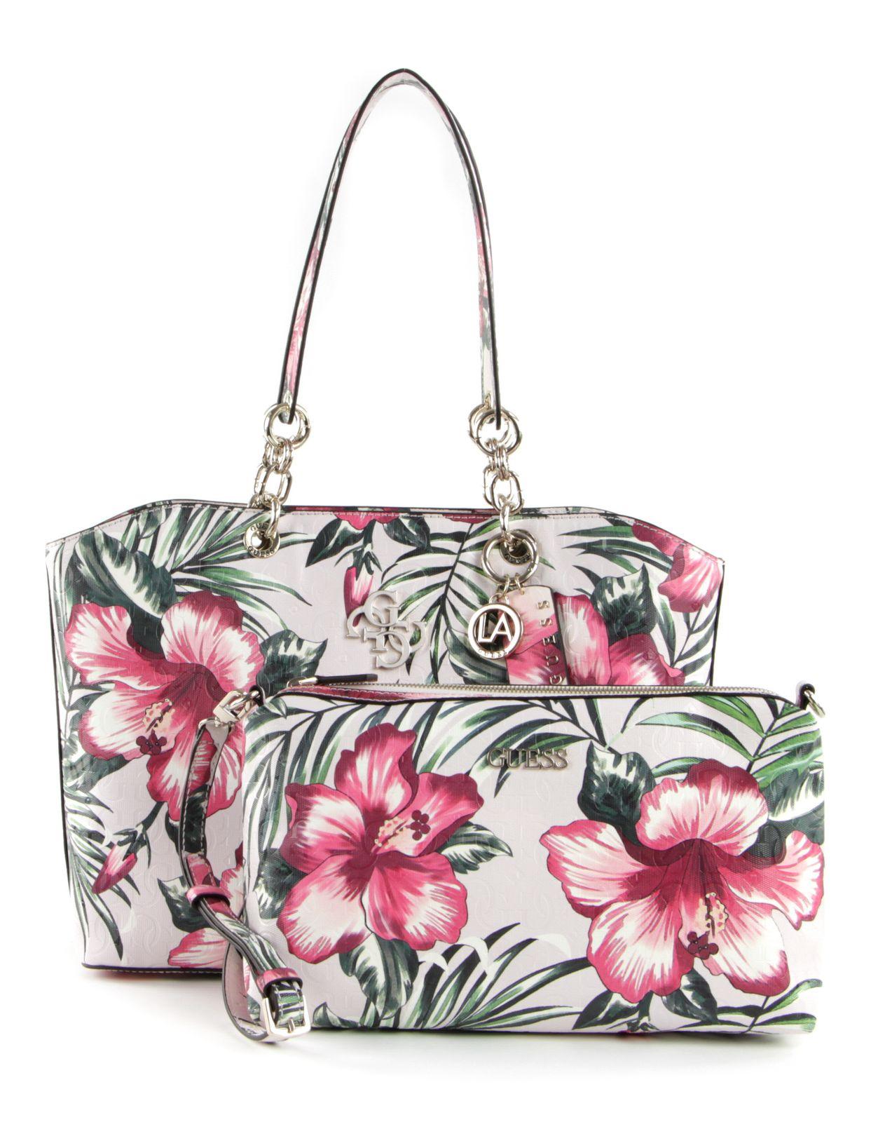 GUESS Chic Shine Shoulder Bag Schultertasche Tasche Floral Weiß Pink
