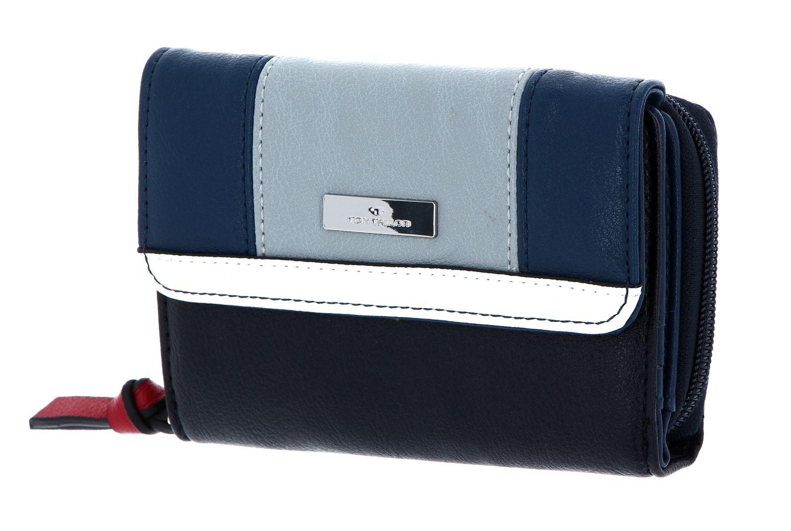 TOM TAILOR Juna Medium Flap Wallet Geldbörse Mixed Maritim Blau Weiß Neu