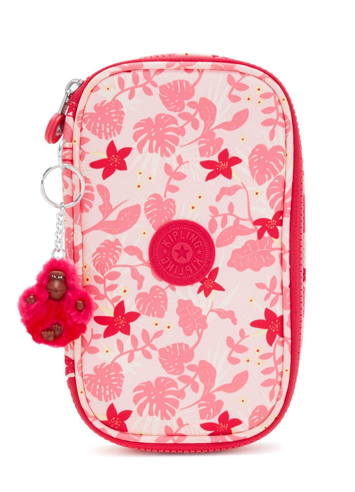 kipling Back To School 50 Pens Pencase M Pink Leaves