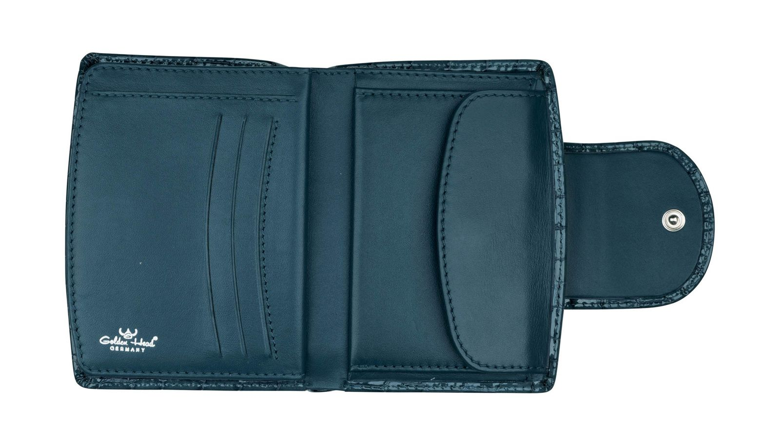 Golden Head Cayenne Billfold Coin Wallet with Snap Closure Blue