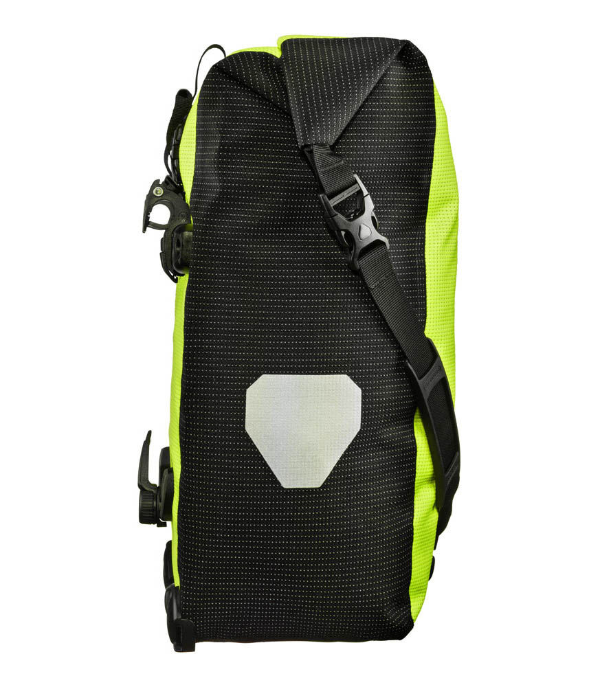 ORTLIEB High Visibility Back-Roller Bike Side Pannier (QL2.1) 20L - Single Neon Yellow - Black Reflective