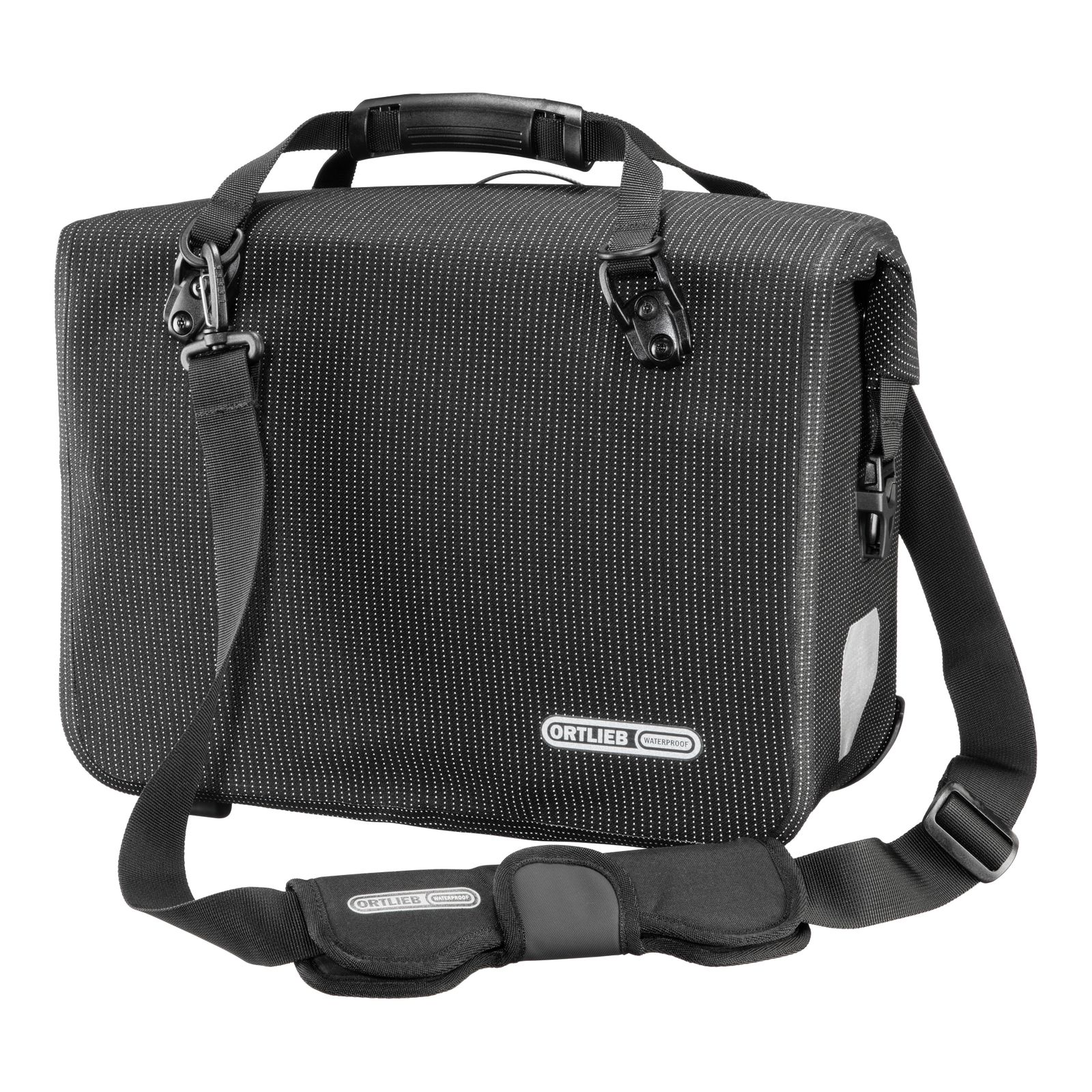 ORTLIEB High Visibility Office Bag Bike Side Pannier (QL3.1) 21L - Single Black Reflective