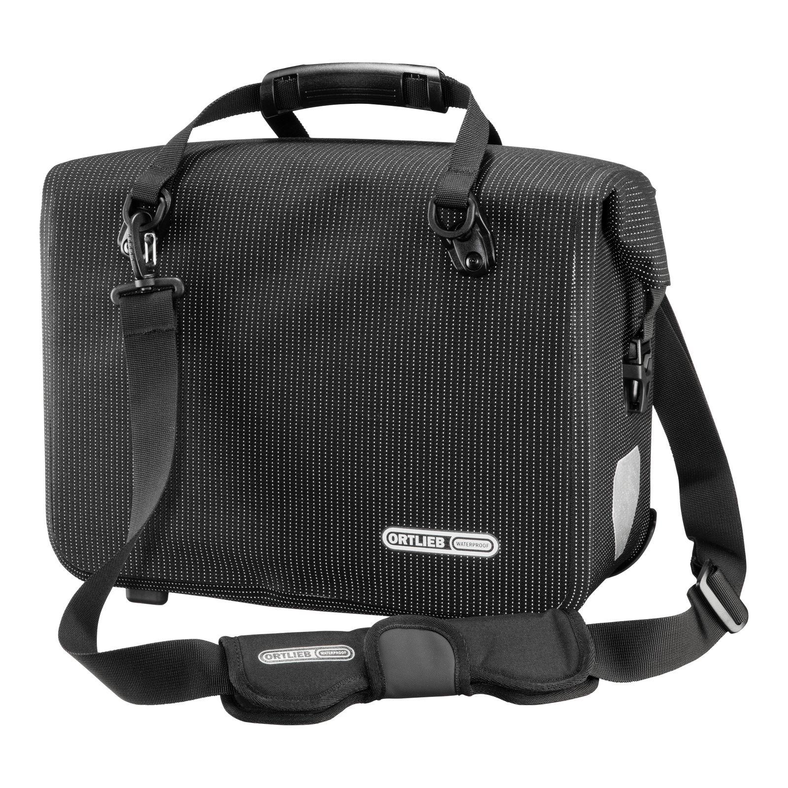 ORTLIEB High Visibility Office Bag Bike Side Pannier (QL2.1) 21L - Single Black Reflective